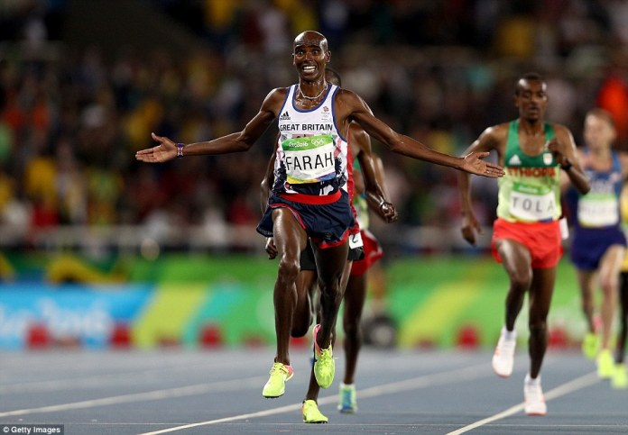 Mohamed Farah has won the 10,000m - making history as he became the first British athlete to win three gold medals on the track