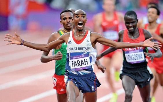 Farah winning gold at the London Olympics in 2012