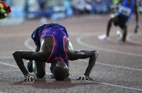 Britain's Mohamed Farah, celebrates his victory in the 10000 meter men's event at the Golden Spike athletic meeting in Ostrava, Czech Republic, Wednesday, June 28, 2017.