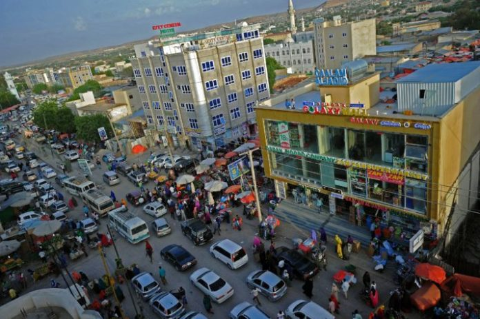 The downtown area of Hargeisa