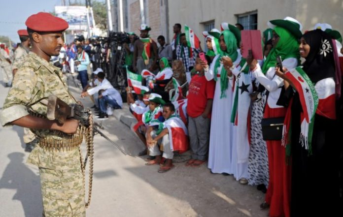 Soldiers stand guard in Hargeisa during a Somaliland Independence Day parade