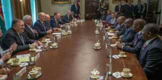 Viral Photo - Kenyatta's Delegation Sipped Tea As Trump's Team Took Notes