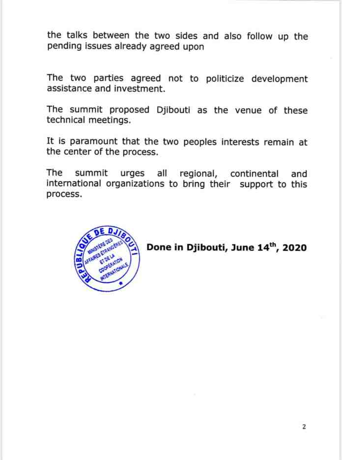 Communique – Somaliland-Somalia Agree Not Politicize Development Assistance And Investment