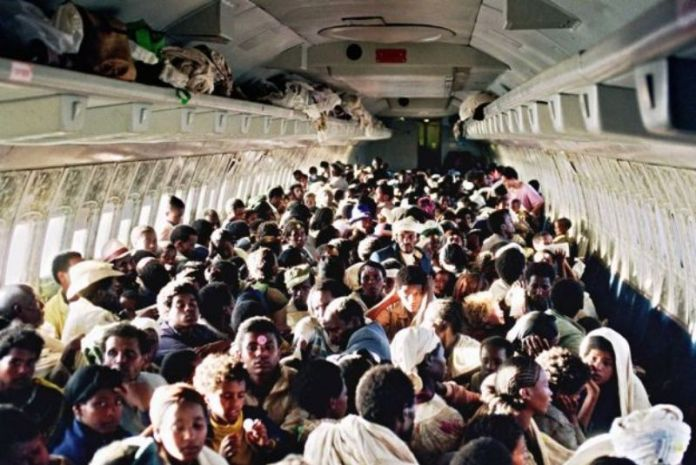 Ethiopian Jews On Board A Stripped-Out Israeli Air Force Boeing 707