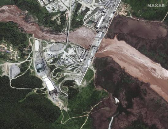 Satellite images taken from the Grand Ethiopian Renaissance Dam