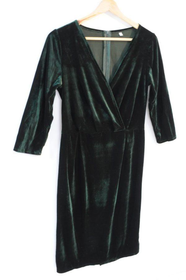 Rochie dama catifea verde