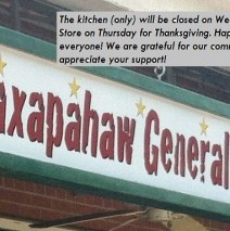 Happy Thanksgiving! Kitchen closed Wednesday, Store closed Thursday