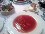 my camera was half dead by this time. but anyway, this is our REAL appetizer, borsch soup with sour cream and bread