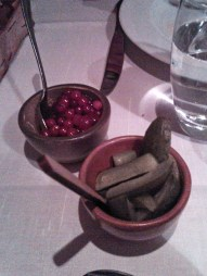 lingonberries and pickled cucumbers to add more flavour to the reindeer meat.