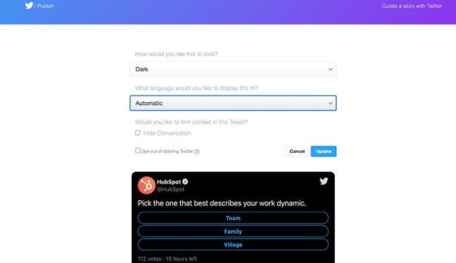 Options for embedding a Tweet