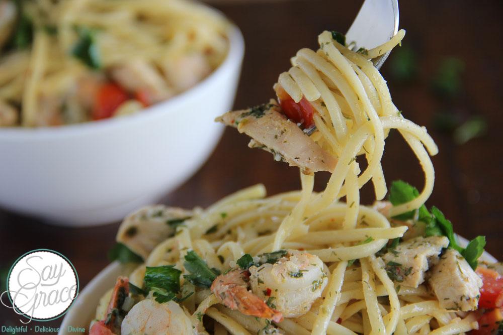Shrimp Scampi and Chicken Linguine