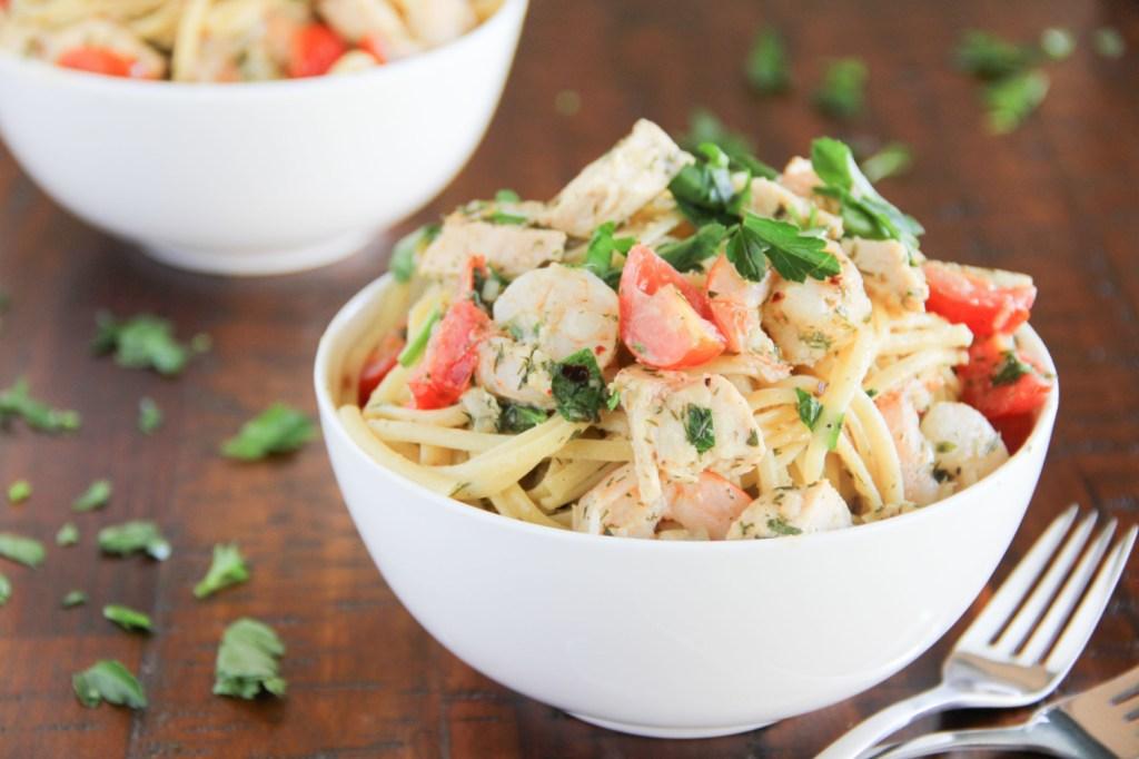 Shrimp Scampi (and Chicken) Linguine