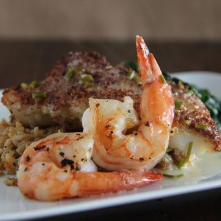 Panko Crusted Cod and Grilled Shrimp with a Lemon Beurre Blanc