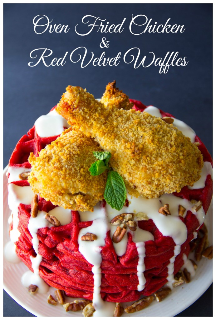 Oven Fried Chicken & Red Velvet Waffles