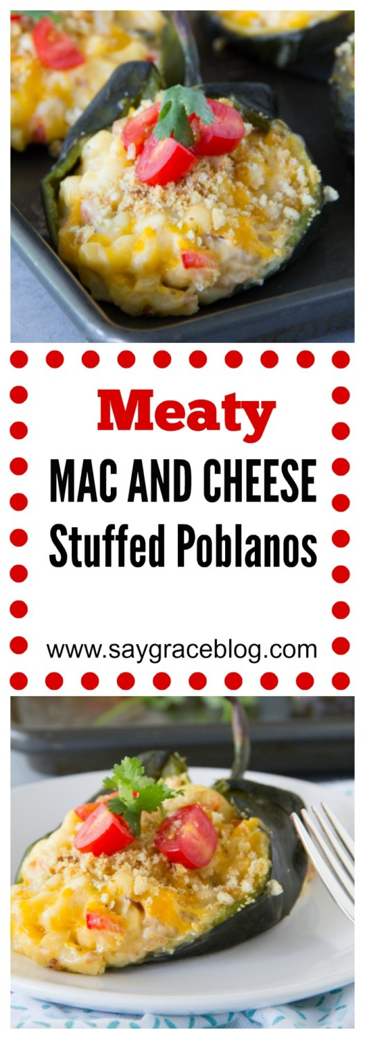 Meaty Mac and Cheese Stuffed Poblanos