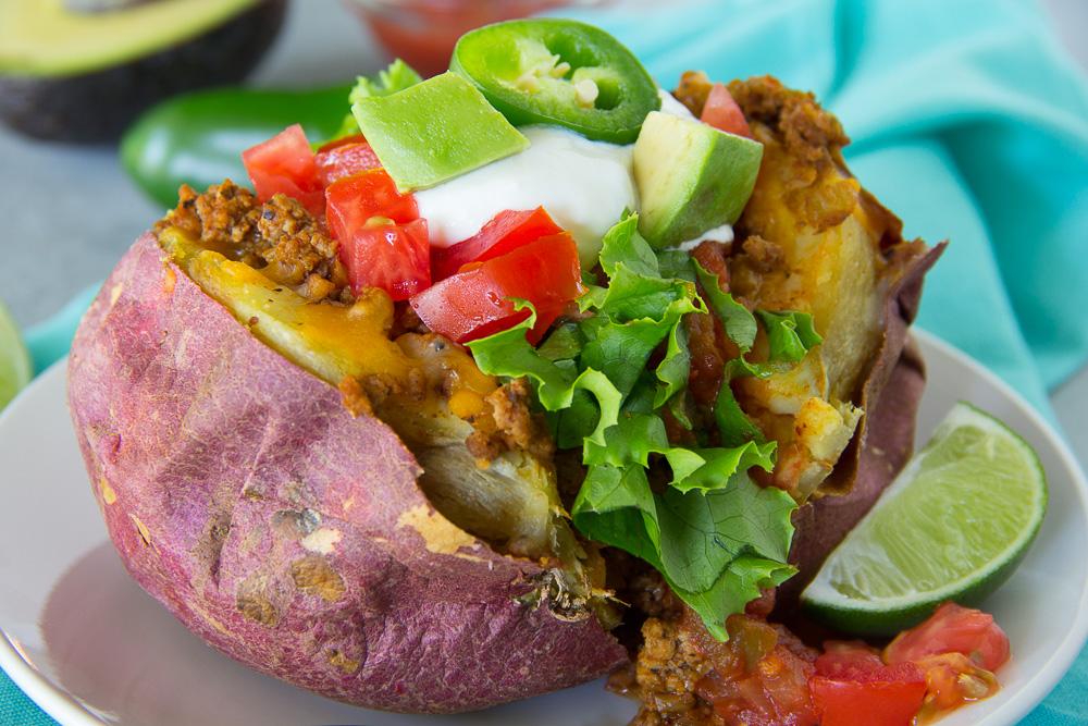 Turkey Taco Stuffed Sweet Potato