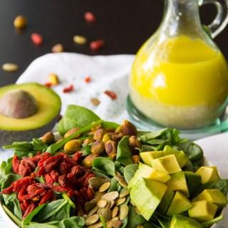 Power Salad with Balsamic Chia Seed Vinaigrette