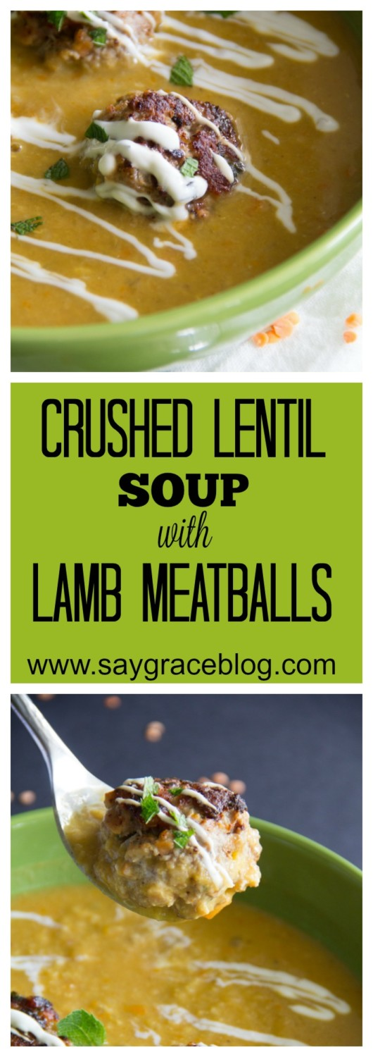 Crushed Lentil Soup with Lamb Meatballs