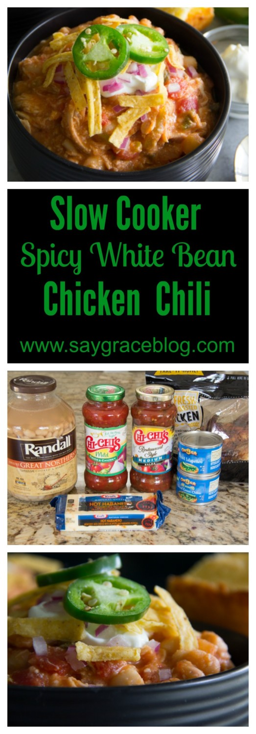 Slow Cooker Spicy White Bean Chicken Chili