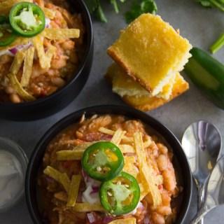 Slow Cooker Spicy White Bean Chicken Chili