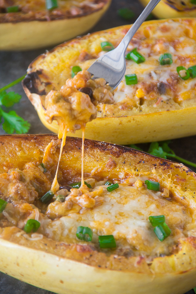 Enchilada Stuffed Spaghetti Squash Boats