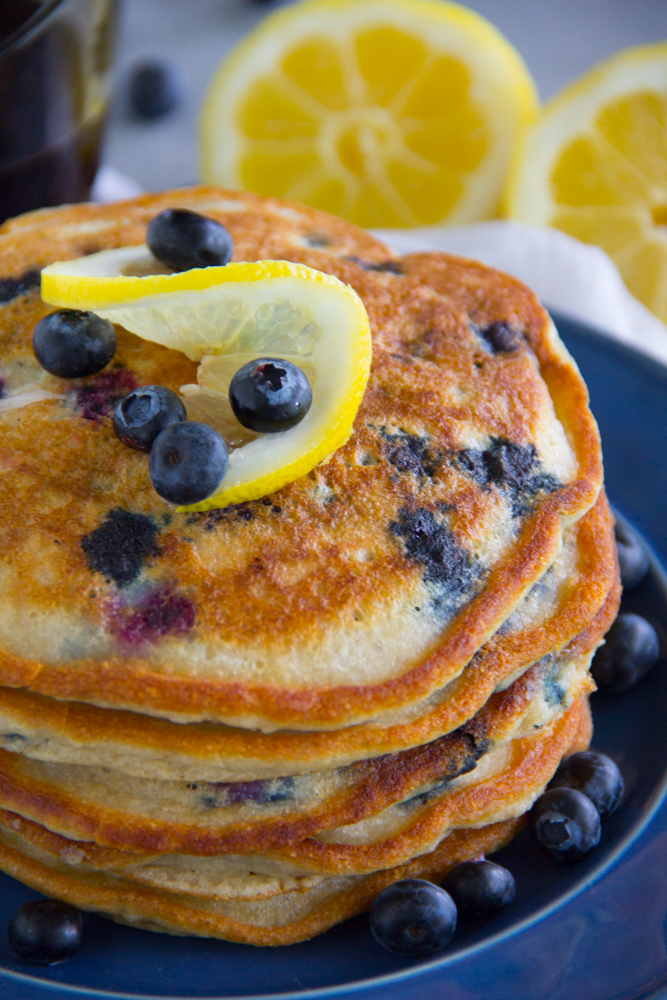 Paleo Lemon Blueberry Pancakes
