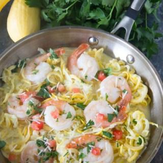 Keto Fettucine Alfredo with Shrimp