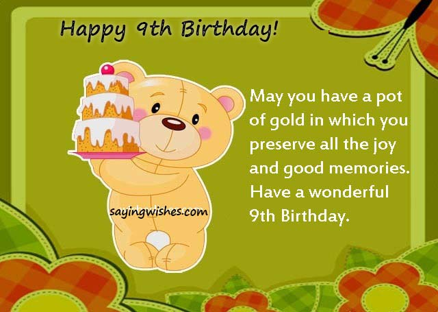 9th Birthday Wishes Quotes Messages For Baby Girl Boy