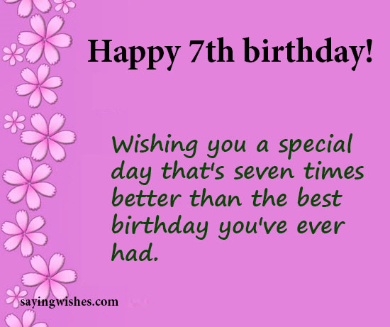 7th Birthday Wishes Quotes Messages For Seven Year Olds