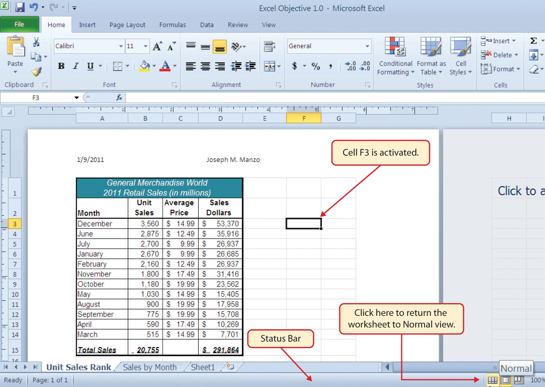 Header Excel Worksheet