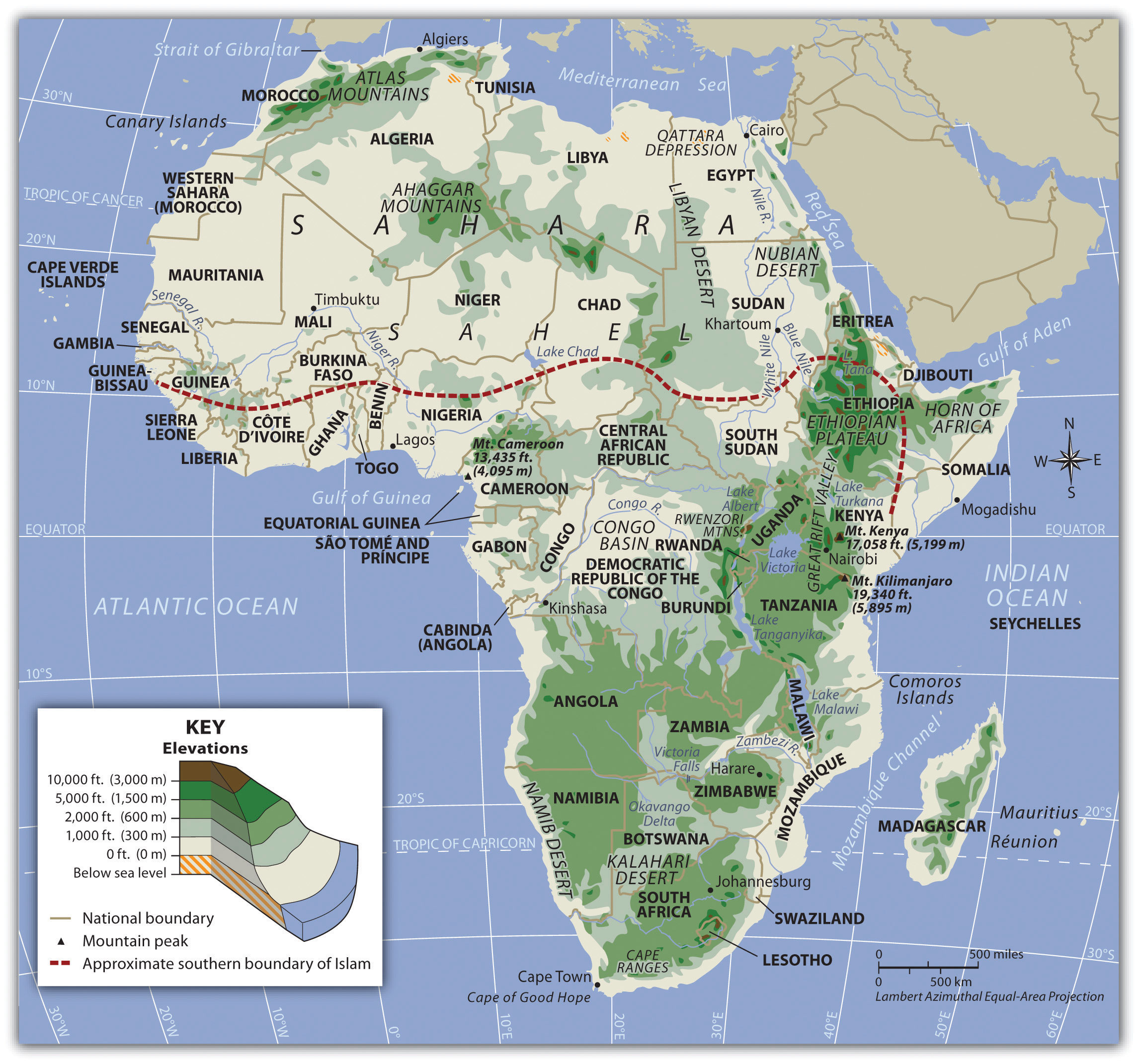 Sub Saharan Africa Physical Features Map