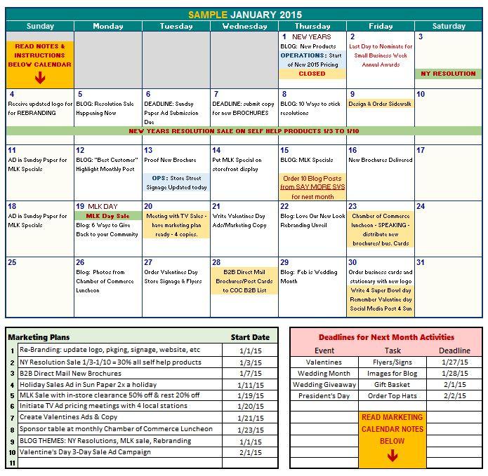 Free Marketing Calendar Template monthly personnel activity – Sample Marketing Calendar