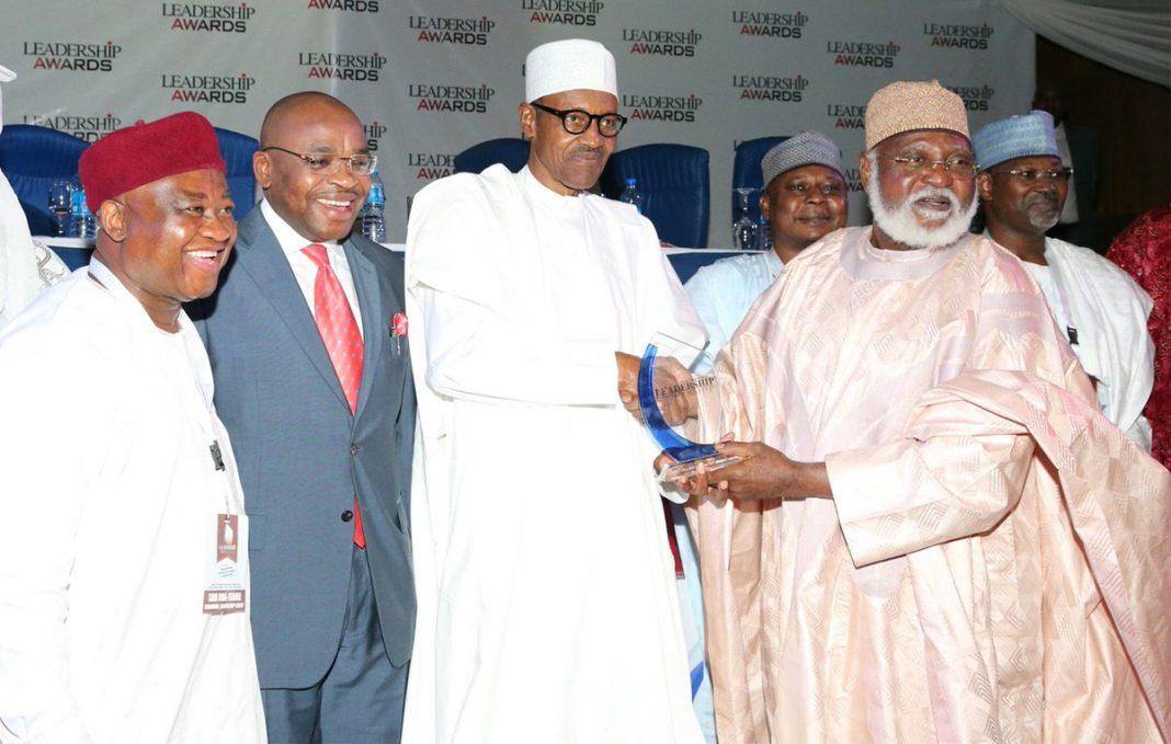 President Buhari Receives Leadership Man of the Year Award From Gen Abubakar
