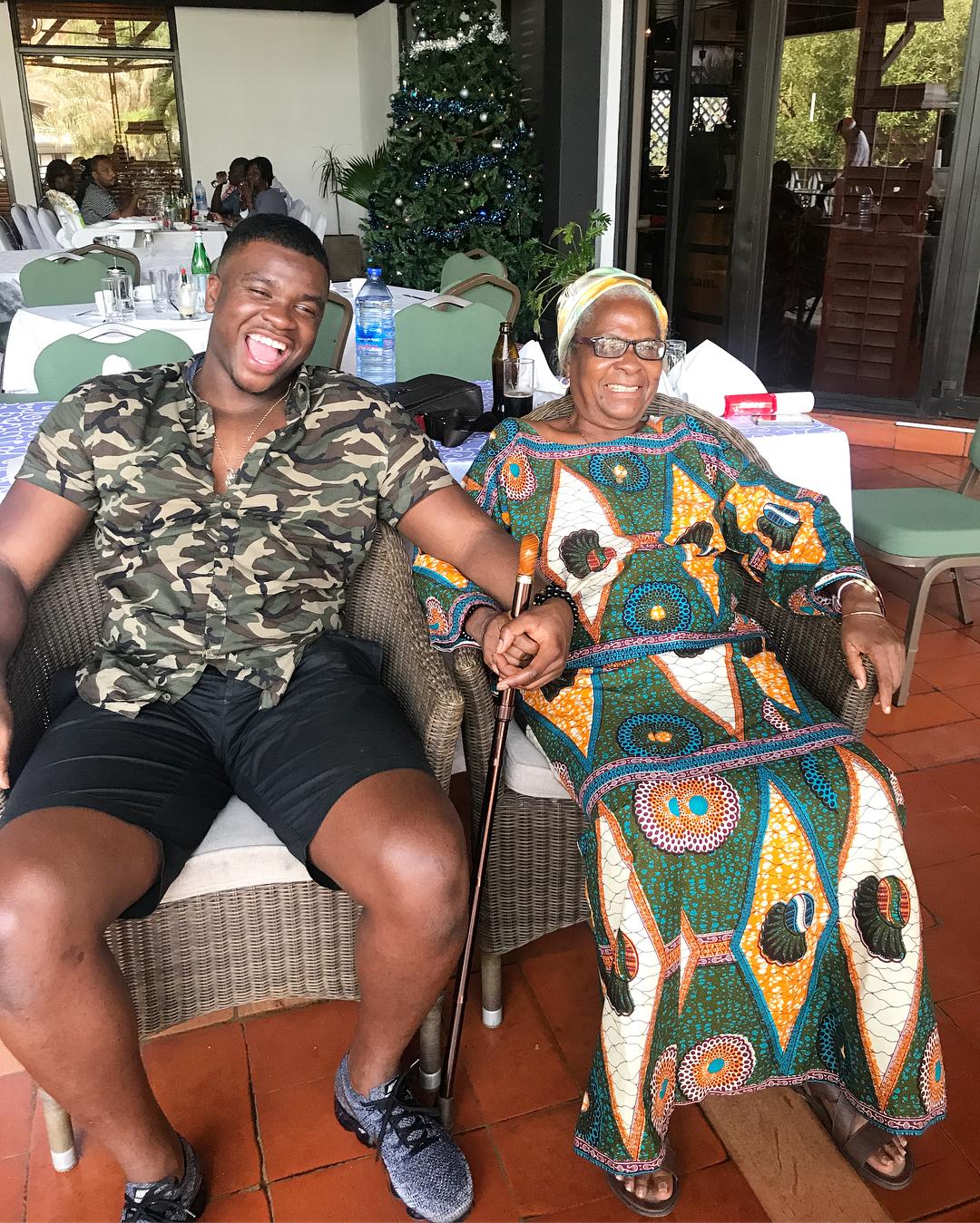 """Michael """"Big Shaq"""" Dapaah Visits His Nana in Ghana After 9 Years Away"""