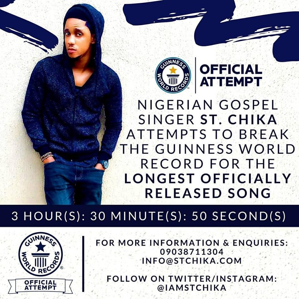 Nigerian Gospel Singer, St. Chika Set To Break Guinness World Record