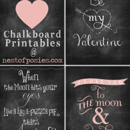Valentine Chalkboard Printables by Nest of Posies