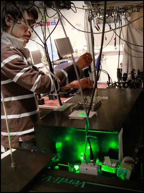 Koji Usami working in lab