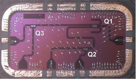 Silicon Chip having three qubits
