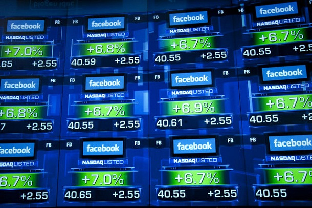 Facebook logo with price valuations at Nasdaq