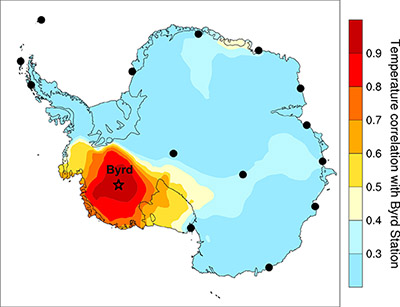 Map showing warming in Antarctica (Credit: Julien Nicolas / Ohio State University)