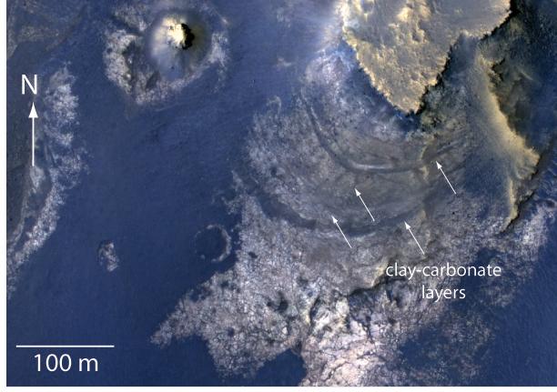 Clay-carbonate layers on Martian crater (Credit: NASA/JPL-Caltech/Univ. of Arizona)
