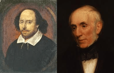English playwright William Shakespeare (left) and English poet William Wordsworth (Right)