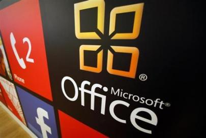 A Microsoft Office logo is shown on display at a Microsoft retail store in San Diego (Credit: Reuters/Mike Blake)