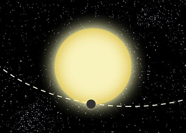 Artist depiction of Kepler-76b revolving around its star (Credit: Dood Evan/CfA)