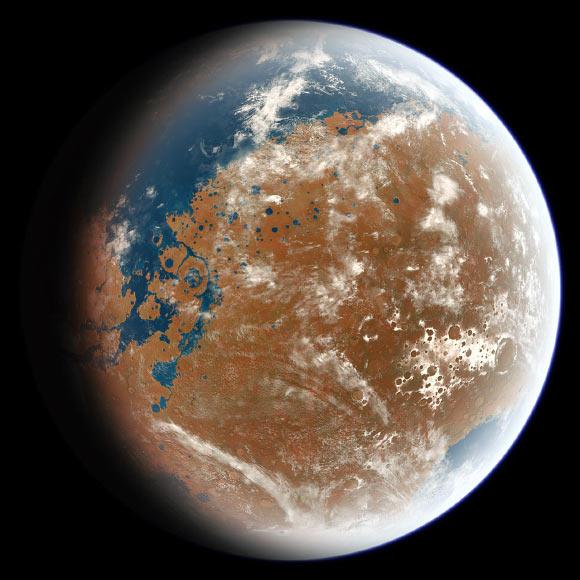An artist's impression of ancient Mars (Ittiz / CC BY-SA 3.0)