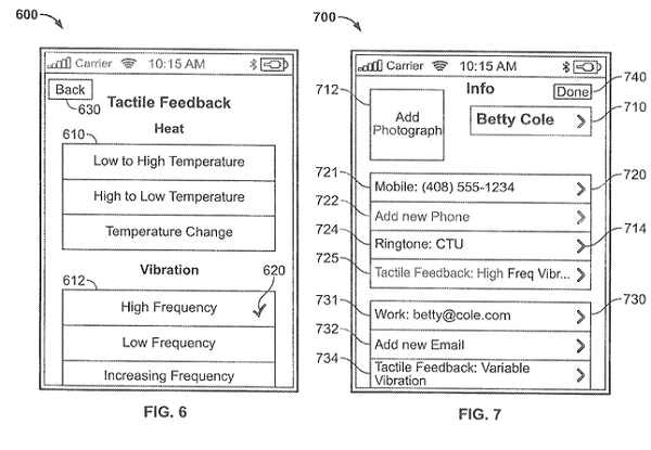 Tactile feedback selectable options (Credit: Apple)