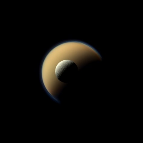 Rhea (front) and Titan, images by Cassini in June 2011 (Credit: NASA/JPL-Caltech/Space Science Institute)