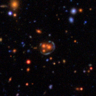 Phenomenon of Gravitational lensing can be seen in the center of this image (Credit: Space Warps Collaboration / CFHT / Terapix)