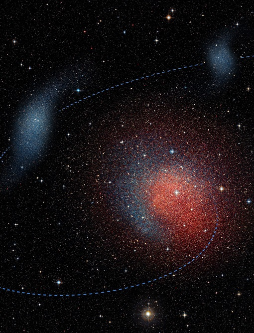 Artist's impression of the merger between two smaller dwarf galaxies; the result was the dwarf galaxy Andromeda II. (Image Credit: N. C. Amorisco & M. Høst (Niels Bohr Institute) and ESO / Digitized Sky Survey 2)