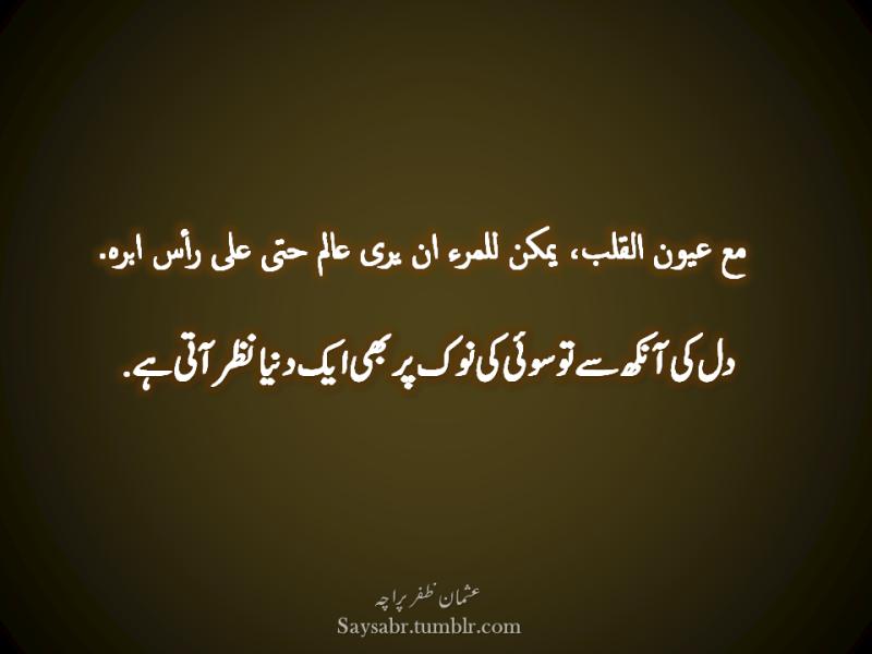 Dil ki aankh say to sui ki nok par bhi aik dunya nazar aati hai. (Usman Zafar Paracha – Arabic Urdu Quote)